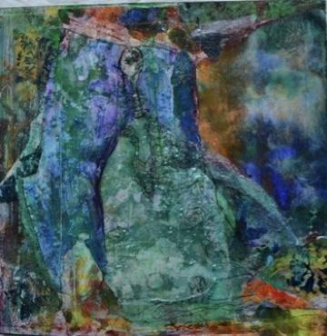 abstraction femme vert bleu
