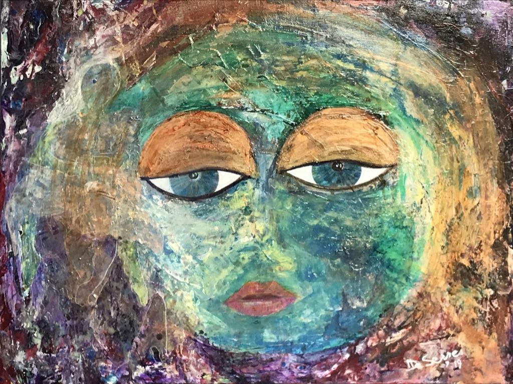 acrylique visage coloré