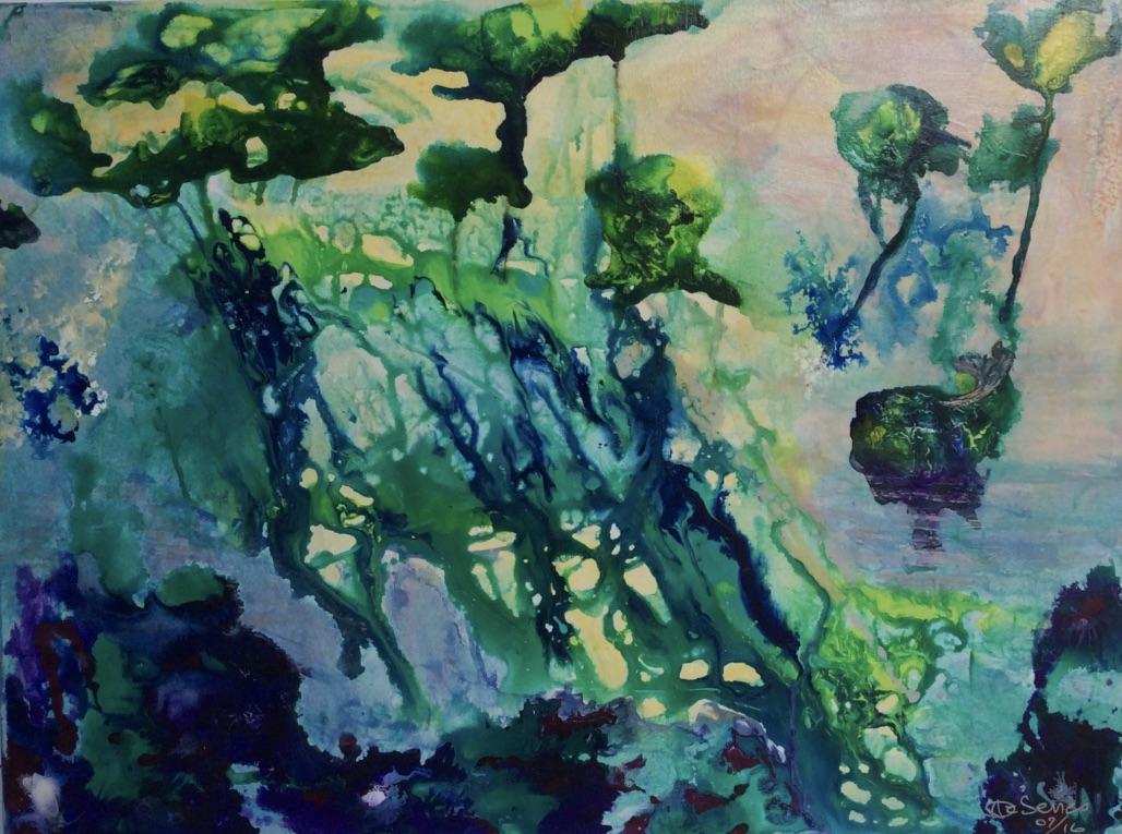 green trees arbres verts bleu