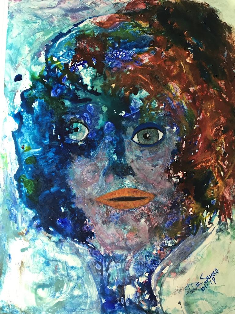 Tete bleue , visages, acryliqu sur Yupo Blue face red lips